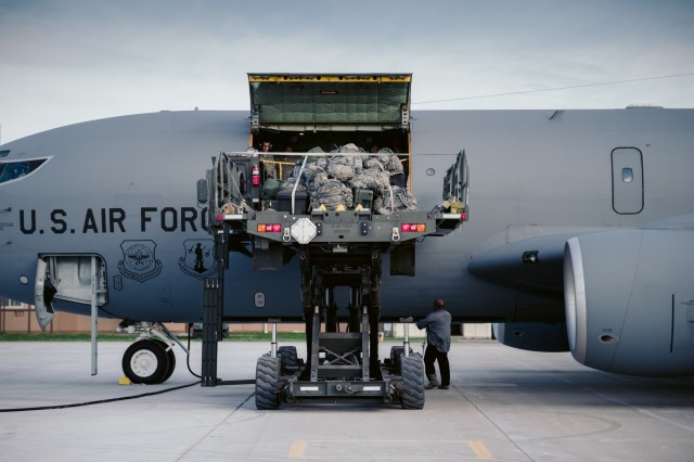 Equipment for the 152nd Engineer Support Company, New York Army National Guard, is loaded onto a KC-135 Stratotanker from the 157th Air Refueling Wing, Pease Air National Guard Base, New Hampshire Air National Guard, to Puerto Rico, Niagara Falls Air Reserve Station, N.Y., Oct. 19, 2017. 125 members of the 152nd ESC are deploying to Puerto Rico with heavy equipment to work on such things as debris removal and restore lines of communication to bring aid in the on going hurricane relief.