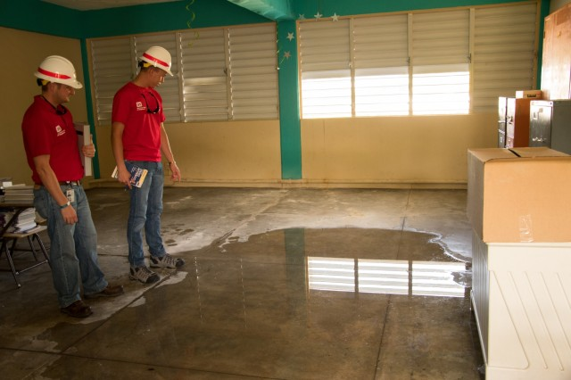 U.S. Army Corps of Engineers, Structural Engineers, Christopher R. Bamberg and Ariel A. Marrero Irizarry, assess a school in Carolina, Puerto Rico on October 20, 2017. The Corps along with their counterparts have assessed more than 250 schools between San Juan and Mayaguez.