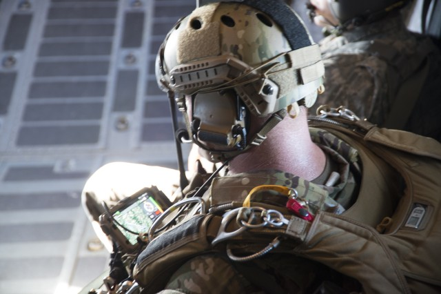 The Parachute Navigation System (PARANAVSYS) End User Device is attached to a military free fall jumper.