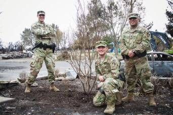Amid wildfire ruins, California Army National Guard Soldiers nurture a little tree of hope