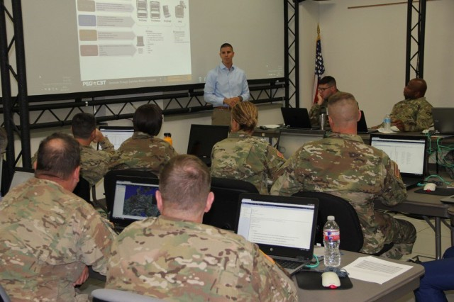 Gonzalo Pareja, test lead with Project Manager Mission Command's Tactical Mission Command, conducts a user jury at the Mission Command Center of Excellence's Battle Lab at Fort Leavenworth, Kansas, in July 2017.