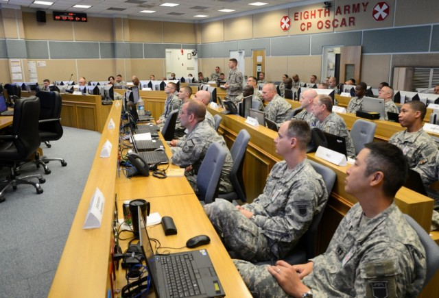 Eighth Army receives a brief in the Critical Operations Intelligence Center at CP Oscar, located on Camp Walker.