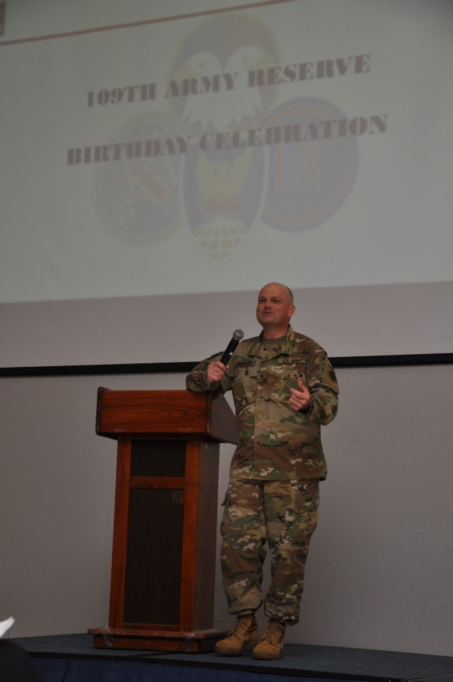 Brig. Gen. Douglas Anderson, deputy commanding general Ð Army Reserve and director, Army Reserve Engagement Cell, U.S. Army Pacific, welcomes Soldiers and civilians to the 109th Army Reserve birth