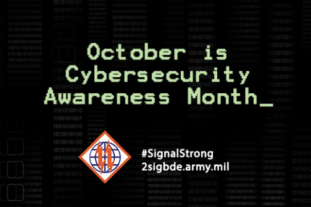 U.S. Army 2nd Theater Signal Brigade Cyber Awareness Month graphic.