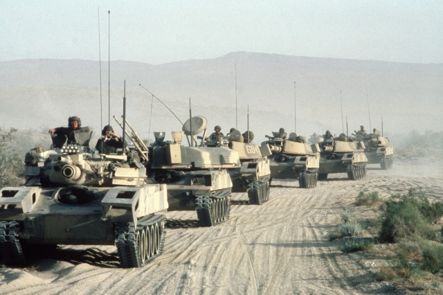 In this photo from 1986, M551 Sheridan light tanks cross the desert during an Opposing Forces exercise at the National Training Center, California. The M551 left regular service in 1996. The Army is now pursuing plans on a new lightweight armored combat vehicle.