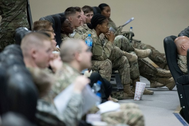Soldiers listen to a seminar during Nursing Professional Day, Oct. 10, 2017 at Camp Arifjan, Kuwait. Nursing Professional Day, hosted by United States Military Hospital - Kuwait, is a clinical education day for nurses and medics open to all military branches as well as local civilan medical professionals.