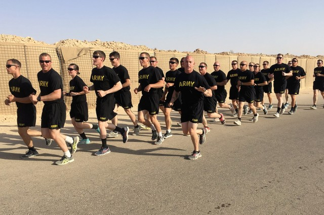 """Soldiers from the 10th Combat Aviation Brigade participated in a unique """"World Run"""" event on October 20. The brigade currently has personnel in 14 different locations across the globe and designed the event to celebrate their diversity and show that they are united in their mission to defend the United States and its Allies and uphold their Army Values. Simultaneously, at 1200 Zulu, Soldiers from locations such as New York, Germany, Latvia, Romania, Iraq, Kuwait, and South Korea, all gathered to hear the same speech written by Col. Clair A. Gill, 10th Combat Aviation Brigade commander, and then embarked on a four-mile run at their respective locations. The earliest runners began at 8 a.m. in New York were joined by Falcon Families, while 10th CAB's 6th Squadron, 6th Cavalry in South Korea, were the latest to run, beginning in the dark at 9 p.m. local time."""
