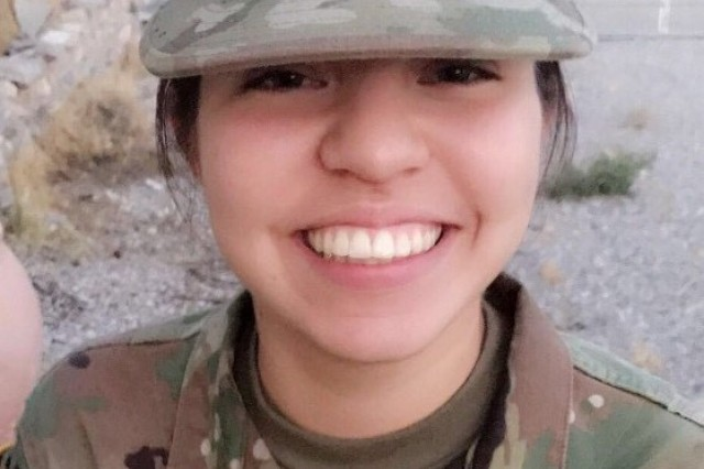 Pvt. Jessica Trujillo, 17, is a Nevada Army National Guard Soldier in D Company, 3rd Battalion, 140th Security and Support Aviation Regiment. She credited basic combat training skills she learned at Fort Sill for helping her lead family members and a friend to safety during the Oct. 1 shooting at the Route 91 Harvest Festival country music concert in Las Vegas.
