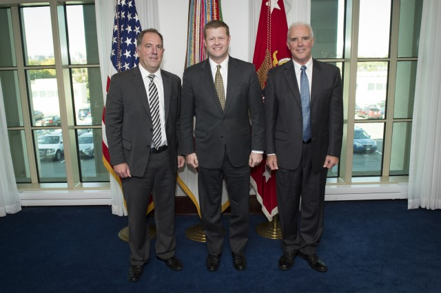 Acting Secretary of the Army Ryan McCarthy, center, administered the oath of office to new Civilian Aides to the Secretary of the Army at the Pentagon in Arlington, Va.  Mr. Craig A. Wilhelm, left, will represent Oregon.  Mr. Robert G. Carmichael Jr., right, will represent Maine.