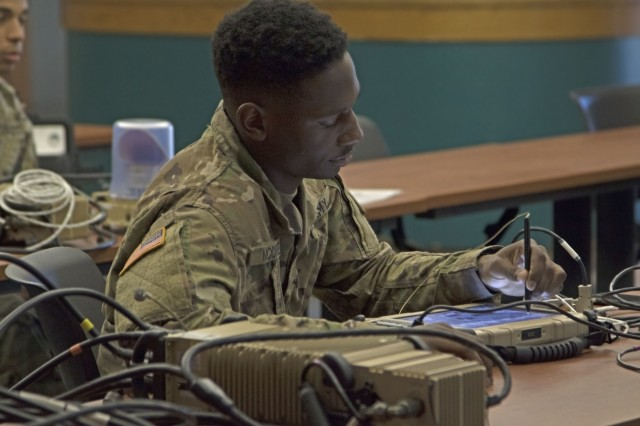 Pfc. Willie McCree, an infantryman from the 1st Battalion, 28th Infantry Regiment Task Force, learns how to operate a One System Remote Video Terminal in Fort Benning, Ga., Oct. 26, 2017. Task Force 1-28 received the training to support the 1st Security Force Assistance Brigade as a security force element. (U.S. Army photo by Pfc. Zoe Garbarino, 50th Public Affairs Detachment, 3rd Infantry Division)