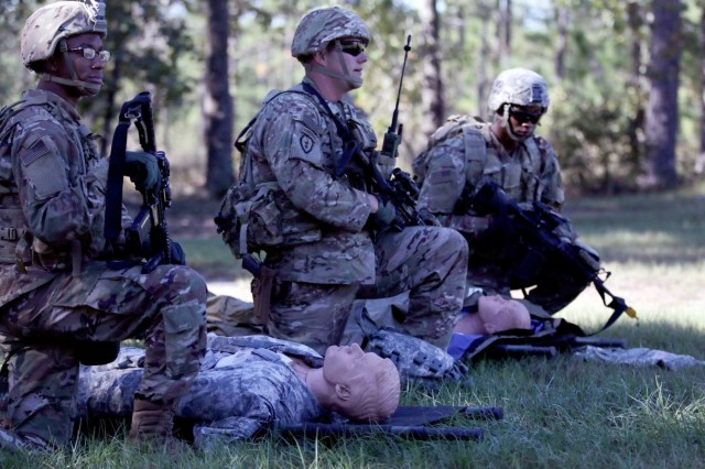 Soldiers with the 815th Brigade Engineer Battalion, 1st Security Force Assistance Brigade simulates medical care of casualties during medical evacuation training at Fort Benning, Georgia, Oct. 24, 2017.