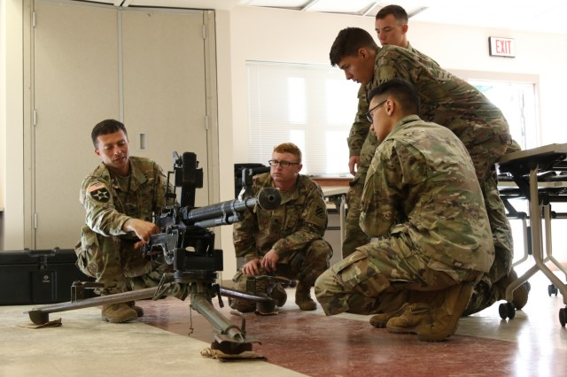 Soldiers from Task Force 1st Battalion, 28th Infantry Regiment conduct a foreign weapons familiarization on a Russian DShk heavy machine gun October 25, 2017 at Ft. Benning, Ga. TF 1-28 Soldiers are attached to 1st Security Force Assistance Brigade as a security element to advisors enabling advisory teams to focus on supporting their foreign security force partners. Soldiers interested in joining the 1st Security Force Assistance Brigade should contact their branch manager for more information. (U.S. Army photo by Sgt. Arjenis Nunez)