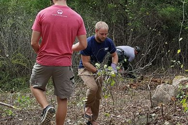 "Lancaster, Tenn. (Sept. 30, 2017) -- About 30 volunteers converted the former Hurricane Bridge Campground today into the new ""The Old 56 Trail"" at Center Hill Lake in support of National Public Lands Day."