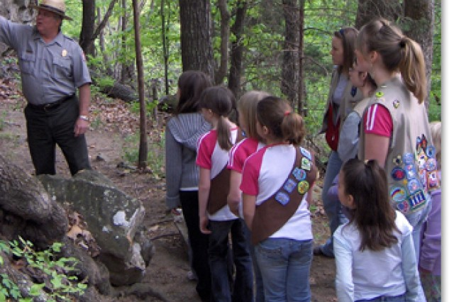 Corps Ranger talking with Girl Scouts