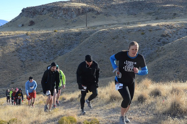 Military and civilian runners approach the top of the first of many steep grades during the 10K course Oct. 21, 2017 at Dugway's Proving Ground's Trail & Ultra Run. The annual event is the only day per year when the heavily secured installation is open to the public. Photo by Al Vogel, Dugway Public Affairs.