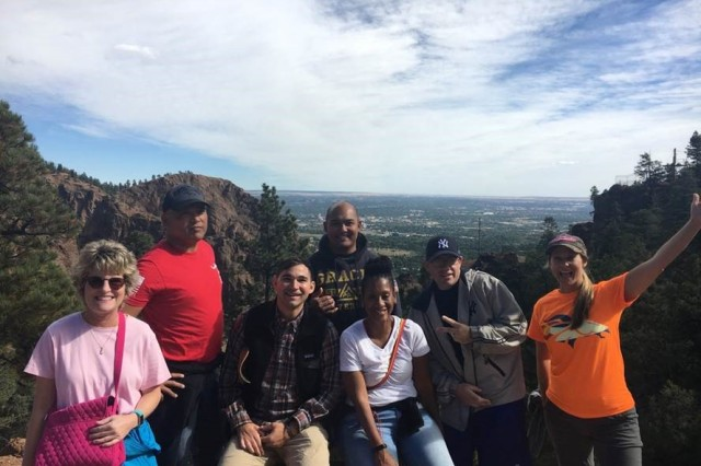 Fort Carson's WTB cadre and staff members enjoy a morning hike at Seven Falls during their second annual Spiritual Recharge Retreat in Colorado Springs, Colo.