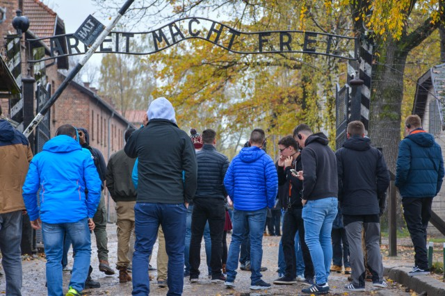 A group of soldiers from the Battle Group Poland tour the Auschwitz Concentration Camp, Oct. 28, 2017. For majority of the soldiers, it was their first time visiting Auschwitz and allowed them to put into perspective many events of WWII that they had learned about in history class.