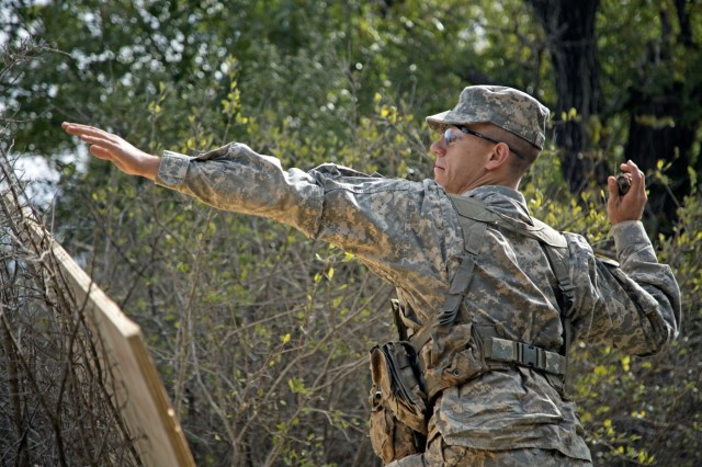 Cadet Jordan Pineault, a Stephen F. Austin State University freshman, tosses a grenade during the warrior task event of the Ranger Challenge competition held at Fort Hood, Texas, Oct. 28, 2017.