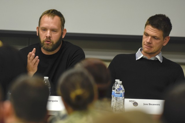 Iraq War veteran Eric Bourquin, left, talks about being part of The Long Road Home, a TV miniseries based on the Black Sunday ambush in Sadr City where he and other 1st Cavalry Division Soldiers fought in, during a panel discussion at the Defense Information School on Fort Meade, Md., Oct. 26, 2017. Bourquin and fellow veteran Aaron Fowler served as production consultants for the show.