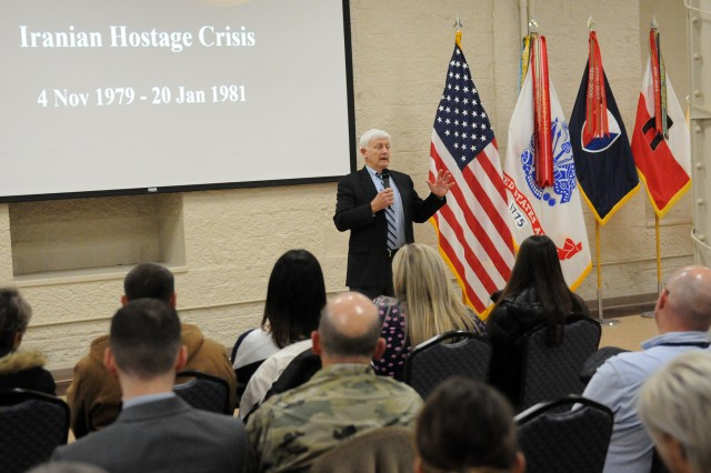 Dr. Paul Needham, retired Air Force officer, discusses his experiences during the Iran hostage crisis during a resiliency event held at Rock Island Arsenal, Oct. 31.