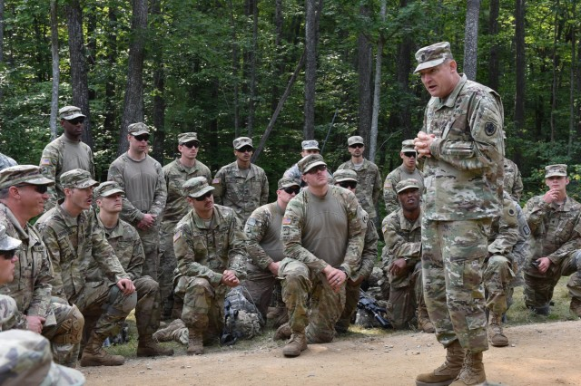 Army Command Sgt. Maj. Christopher Kepner, senior enlisted advisor to the chief, National Guard Bureau, visits Soldiers participating in the Northern Strike military exercise held at Camp Grayling, Michigan, Aug. 8, 2017. Military units from the United Kingdom, Canada, Denmark, Latvia and Poland joined American Air Force, Army, Marines, Guard units and special forces from Michigan and 14 other states for the exercise.