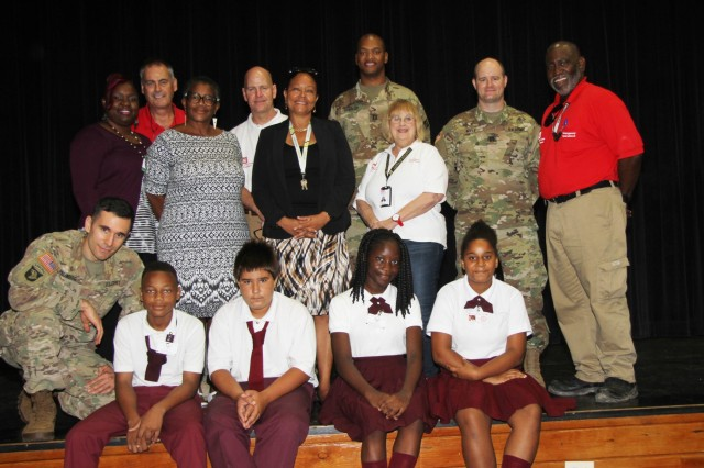 A team of U.S. Army Corps of Engineers first responders met with more than 100 displaced students from the Addelita Cancryn Junior High School at the Charlotte Amalie High School   Ruth E. Thomas Auditorium, in Saint Thomas, United States Virgin Island, Oct. 19 to discuss how Science, Technology, Engineering and Math (STEM) career fields are being utilized during hurricane recovery efforts. (In Photo) USACE Task Force USVI-St. Thomas Local Government Liaison team member Stephen Dunbar and Corps staff members,   Michael Ornella, USACE Liaison to USVI Brooks Hubbard IV, PAO, Capt. Jordan Springer, Capt. Lowell Hilty, Battle Captain Maj. Andrew Freinberg, Task Force Schools, operations officer,The U.S. Army Corps of Engineers (USACE) is working in partnership with the local, state, and federal response to Hurricanes Irma and Maria.  We have more than 975 personnel engaged and coordinating with local, state and FEMA partners in Florida, Puerto Rico and the U.S. Virgin Islands. Our number one priority continues to be the life, health and safety of all who were affected by Hurricanes Irma and Maria. USACE's 12 Mission Assignments from FEMA include: Temporary Power, Temporary Roofing, Debris Removal/Technical Assistance, and Infrastructure Assessment.