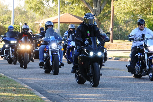 Riders get in formation as they head out to Panama City Beach, Fla., during the 110th Avn. Bde. Motorcycle Mentorship Ride Oct. 27. ()