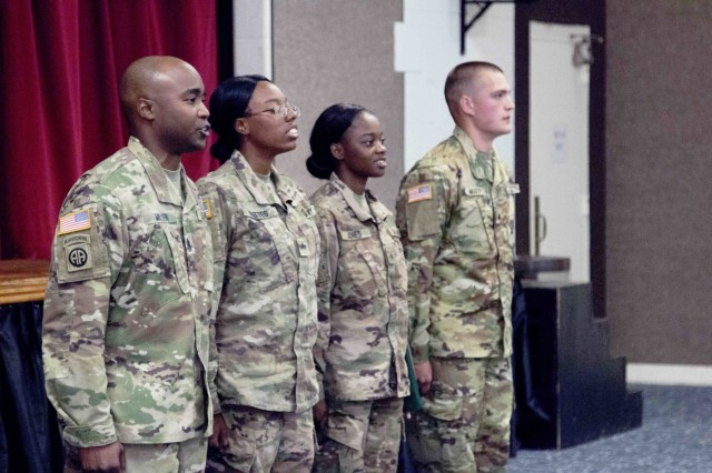 Soldiers from 6th Battalion, 1st Security Force Assistance Brigade recite the Creed of the Noncommissioned Officer during a promotion ceremony Nov. 1, 2017 at Fort Benning, Georgia. The Soldiers were automatically promoted under the Army's new SFAB promotion policy after graduating from the Military Advisor Training Academy. The MATA course provides realistic training to foreign security force advisors whose mission is to train, advise, assist, accompany and enable allied and partner forces. Soldiers interested in volunteering for the 1st SFAB should contact their branch manager. (U.S. Army photo by Staff Sgt. Vincent Byrd, 50th Public Affairs Detachment, 3rd Infantry Division/Released)