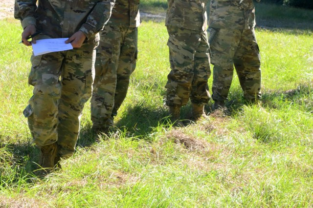 1st Security Force Assistance Brigade candidates go through the explosive ordnance disposal military occupational specialty assessment lane Oct. 26, 2017, at Fort Benning, Ga. Soldiers from the 1st SFAB will train, advise, assist, accompany and enable allied and partner foreign security forces. 1st SFAB candidates are tested on their technical skill and knowledge of their individual military occupational specialty. Soldiers interested in SFAB opportunities should contact their branch manager for more information. (U.S. Army photo by Sgt. 1st Class Maurice Smith/Released)