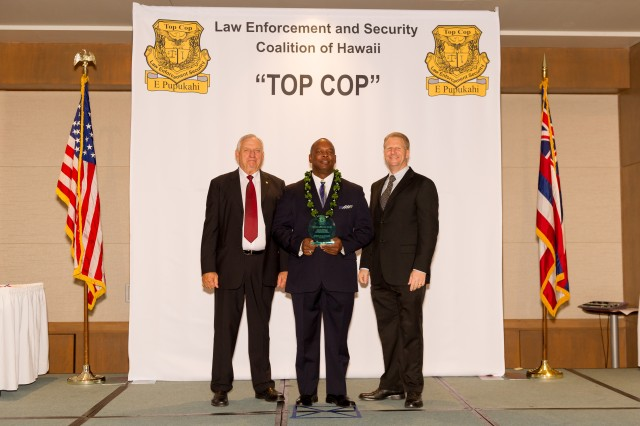 The Law Enforcement and Security Coalition of Hawaii named Antonio L. Williams of the IMCOM Pacific Law Enforcement Division the Elwood J. McGuire Awardee during a ceremony at the Prince Waikiki Hotel in Honolulu Oct. 26.