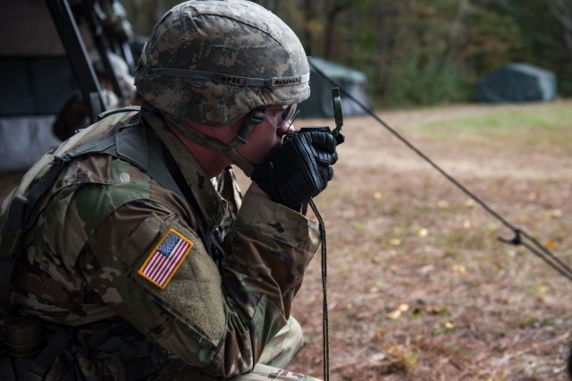 A Soldier assigned to the 3d U.S. Infantry Regiment (The Old Guard) participates in land navigation training for the Expert Infantryman Badge on Fort A.P. Hill, Va., Oct. 23, 2017.
