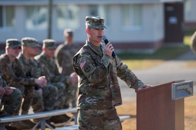 Command Sgt. Maj. Paul E. Biggs, command sergeant major, JFHQ-NCR/MDW, speaks to Soldiers during the Expert Infantryman Badge award ceremony on Nov. 3, 2017, at Fort A.P. Hill, Va.