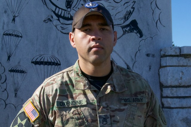 Staff Sgt. Nacona Oxendine, Headquarters and Headquarters Company, 1st Battalion, 507th Infantry Regiment, is a jumpmaster instructor and also a member of the Lumbee Tribe of North Carolina.