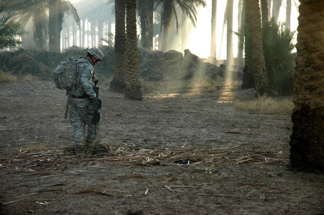 "A Soldier from 2nd Battalion, 15th Field Artillery Regiment, 2nd Brigade Combat Team, 10th Mountain Division (LI), searches for weapons caches in a palm grove near Mahmudiyah, Iraq, 17 miles south of Baghdad. Commando Soldiers recovered tens of thousands of weapons during a historic deployment to the ""Triangle of Death"" from August 2006 to November 2007, crippling insurgent forces and helping to bring peace to the region."