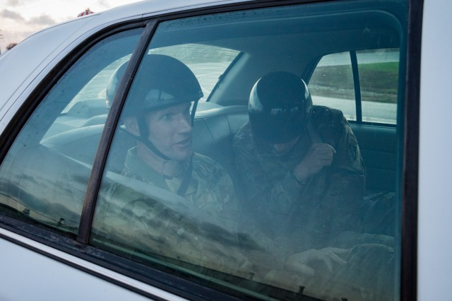 Sergeant Major of the Army Daniel Dailey participates in the Evasive Driving Course at Fort Leonard Wood Nov. 2.