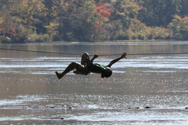 Cadets were treated to beautiful scenery and cold creek water during One-Rope Bridge portion of the JROTC's National Raider Championships held at the Gerald Lawhorn Boy Scout Camp in Molena, Georgia, Nov. 4-5.