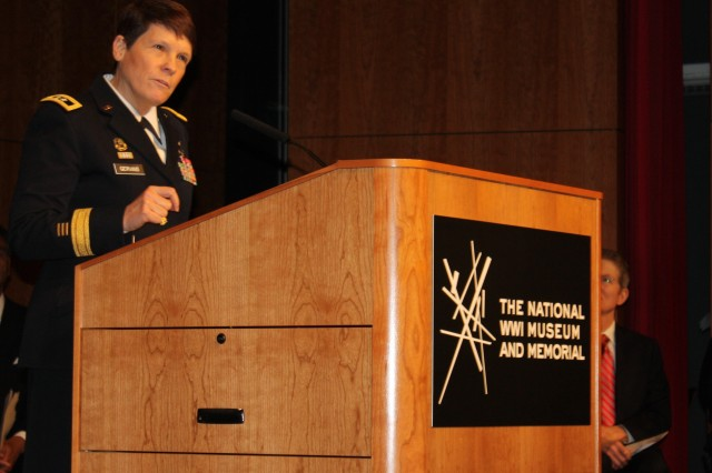Maj. Gen. Maria R. Gervais addresses veterans at the National World War I Museum and Memorial in Kansas City, Mo., on Veterans Day. Gervais is the deputy commanding general of the Combined Arms Center - Training, Fort Leavenworth, Kan. (Photo by Mike Casey)
