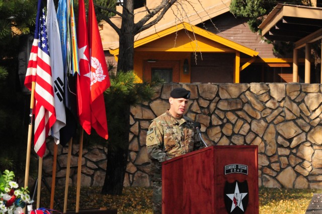 During a ceremony to recognize Veterans Day, Maj. Gen. D. Scott McKean, the commander of the 2nd Infantry Division/ROK-U.S. Combined Division, addresses his Soldiers outside of the 2ID/RUCD Museum located on Camp Red Cloud, Korea, Nov. 12, 2017. Despite being involved in an annual training exercise, McKean used the ceremony to reiterate to his troops the importance of their service and the service of the men and women that served before them.
