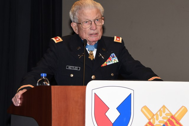 Army Lt. Col. (Ret.) Charles Kettles, Medal of Honor recipient, spoke during TACOM's Veterans Day Observance event on Wednesday, November 8.