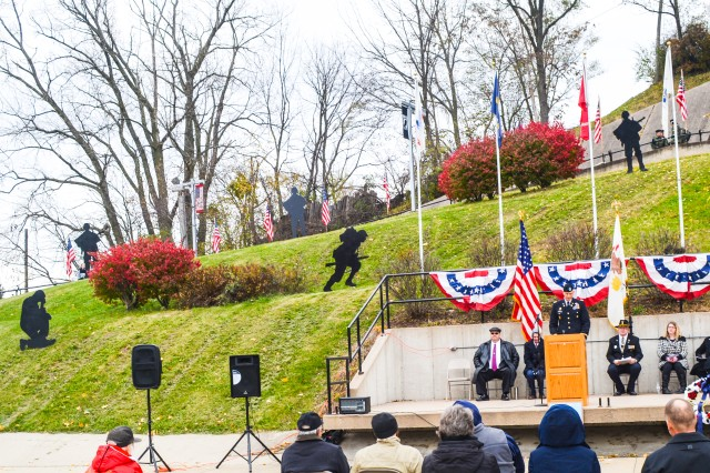 Col. Ricky Kimmel, ASC senior National Guard Adviser, speaks at Hero Street Memorial Park in Silvis, Illinois, Nov. 11.