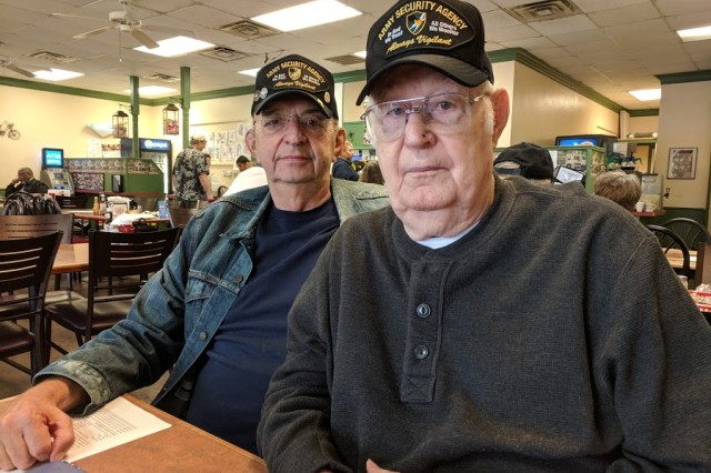 Mike Price and Tom Nutgrass pose for a photo at Papa's Café in Harker Heights, Texas. The two were veterans of the U.S. Army Security Agency and served in Vietnam and Korea respectively. The ASA was the predecessor to the Army's modern-day Military Intelligence units.