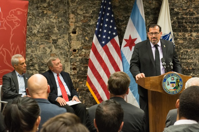 U.S. Army Research Laboratory Director Dr. Philip Perconti tells government and academic partners that collaboration will solve tough challenges for the Army during a ceremony launching ARL Central in Chicago Nov. 10, 2017.