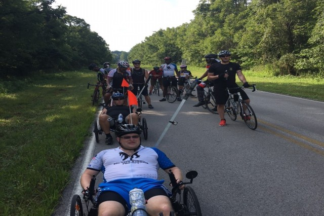 "Sgt. 1st Class John Dvorak leads ""the pack"" during a routine bike ride at Fort Campbell"