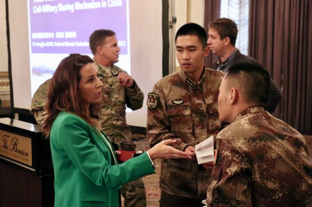 Participants share lessons learned during the the Expert Academic Discussion portion of the 13th iteration of the U.S. -  China disaster management exchange in Portland, Ore, Nov 14.  The annual United States Army Pacific (USARPAC) Security Cooperation event with the People's Liberation Army (PLA) is an opportunity to share lessons learned between USARPAC and the PLA in order to increase capacity to respond to natural disasters in the Pacific region. Participants in this year's event included U.S. Army Pacific, the 8th Theater Sustainment Command, the Oregon National Guard, the U.S Coast Guard Sector Columbia River, the Center for Excellence in Disaster Management and Humanitarian Assistance, the U.S. Army Corps of Engineers Northwestern Division, the U.S. Army Corps of Engineers Portland District, the National Oceanic and Atmospheric Administration (NOAA), the United States Geological Survey (USGS) and the Pacific Disaster Center, an applied research center managed by the University of Hawaii. (U.S. Army Photo by Capt. John D. Howard Jr.)