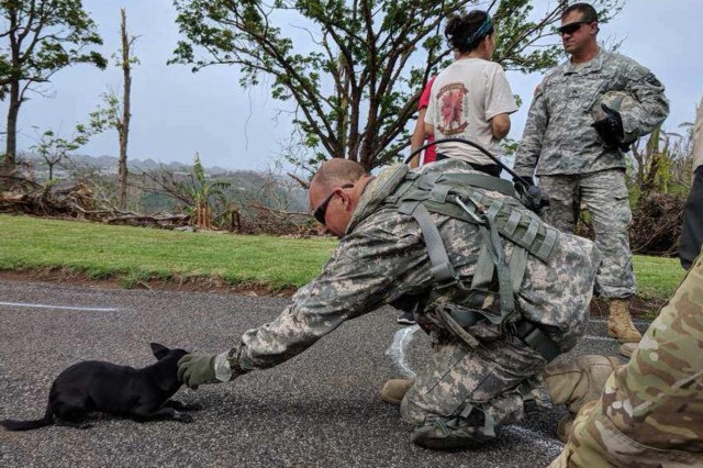 A member of the New York Army National Guard's 3rd Battalion, 142nd Aviation makes a friend during a relief mission in Puerto Rico on Oct. 17, 2017.The 3rd Battalion 142nd Aviation has deployed 60 Army National Guard Soldiers and four UH-60 Black Hawk helicopters to Puerto Rico to assist in the island's recovery from Hurricane Maria.