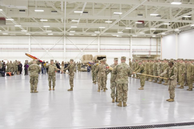 10th Combat Aviation Brigade uncases its colors during a redeployment ceremony at Fort Drum, New York, on November 9. The brigade was returning from a nine-month rotation to Europe support Atlantic Resolve, a U.S. Army Europe operation to assure NATO Allies of the United State's commitment to the alliance and deter foreign agression. (U.S. Army photo by Spc. Thomas Scaggs) 171109-A-TZ475-101
