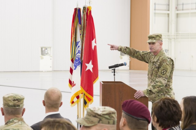 Maj. Gen. Walter Piatt, commanding general of the 10th Mountain Division (LI), speak to the crowd during 10th Combat Aviation Brigade's redeployment ceremony at Fort Drum, New York, on November 9. The brigade was returning from a nine-month rotation to Europe support Atlantic Resolve, a U.S. Army Europe operation to assure NATO Allies of the United State's commitment to the alliance and deter foreign agression. (U.S. Army photo by Spc. Thomas Scaggs) 171109-A-TZ475-125