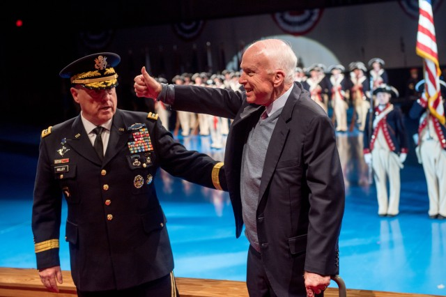 "Army Chief of Staff Gen. Mark A. Milley recognizes Sen. John S. McCain, for his  60 plus years of outstanding dedicated service to the nation and the U.S. military in a special Twilight Tattoo, ""Salute from the Chief"", Nov. 14, 2017, on Joint Base Myer-Henderson Hall, Va. Senator McCain was awarded the Outstanding Civilian Service Medal for his exceptional voluntary contributions to the Army and military."