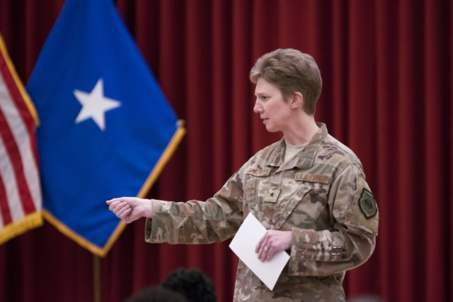 U.S. Air Force Brig. Gen. Leah Lauderback, speaks during a Sisters in Arms forum Oct. 25, 2017, at the Zone 1 Chapel. The forum allowed female leaders to speak to junior service women about mentorship opportunities and accomplishing goals. (U.S. Army photo by Spc. Joseph Black, USARCENT PAO)