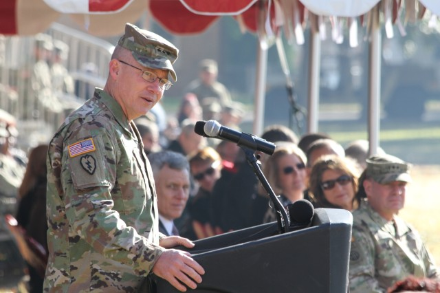 Reviewing officer Lt. Gen. Michael Lundy, CAC and Fort Leavenworth (Kan.) commanding general, thanked the McKiernans and welcomed the Shoffners Nov. 9, 2017.